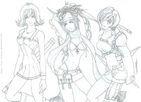 Lineart -Final Fantasy Girls- by tomuyu
