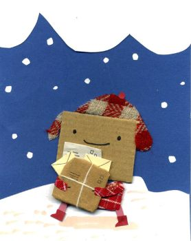 Cardboard Colin goes to the post office by philippajudith
