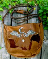 Celtic Hounds and Crescent Moon- Leather Messenger by EireCrescent