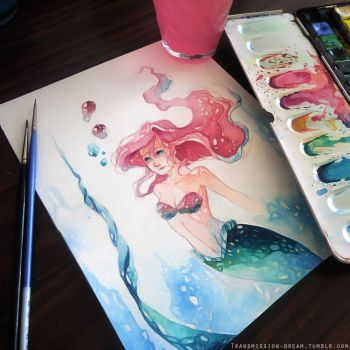 Watercolor Ariel by TransmissionDream
