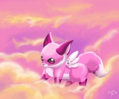 puffball in the sky by LilDevilMomoko