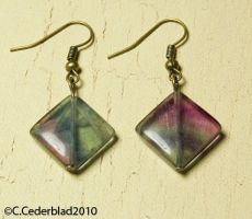 Fluorite bronze earrings by skuggsida