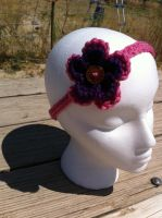 Purple and pink crocheted headband by VashandNaomiForever