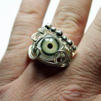 Glass Eyeball Wire Wrap Ring by Create-A-Pendant