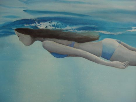 Girl swimming underwater by amycreammaxbrown
