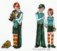 Hermy,Ron Hug + Harry,Ginny by corre