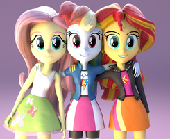 Fluttershy, Rainbow and Sunset Shimmer by borickrut