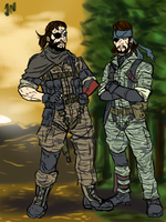 Punished Snake and Naked Snake by Prydonian-Poet