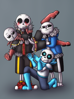 SF!Sans and The Gang by Kana-The-Drifter