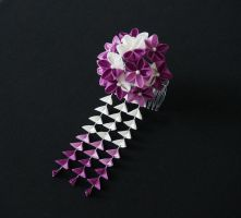Charming Violet and White Blossom Kanzashi 204 by japanesesilkflowers