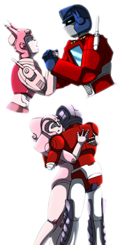 Elita One and Optimus Prime by CoolFireBird