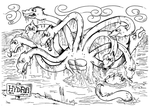 Monster a Day Art Challenge: 6. Hydra by Granitoons