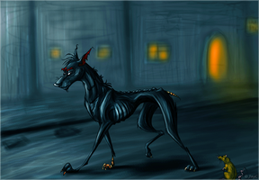 Wingless thestral by JaylacineChiboa