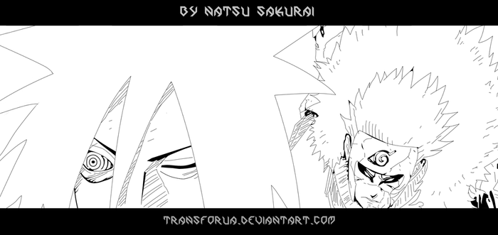 Naruto 661 - Tobirama vs Madara LineArt by TRANSFORUA