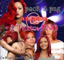 Pack 5 Png Rihanna + 2 Textos by GirlRainbowEditions