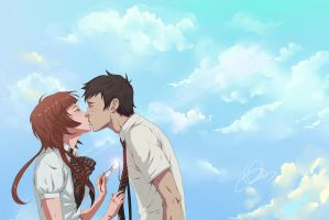 : first kiss : by Lala-Mot