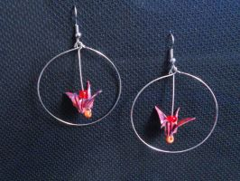 Origami Earrings: Cranes in a Circle by sakuralu83