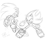 Sonic VS Shadow sketch by ShadowReaper12