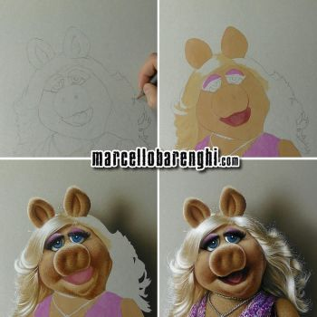 Miss Piggy Drawing step-by-step by marcellobarenghi