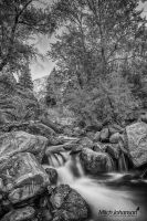 Moving Through the Boulders BW by mjohanson