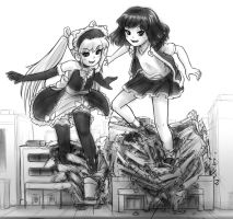 Matilda and Rem playing in the city by AlloyRabbit