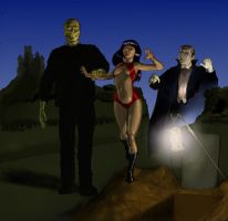 Vampirella meets Dracula (lugosi) and Frankenstein by Nick-Perks