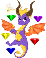 Spyro and Sparx with Sparkly Gems by Sontine