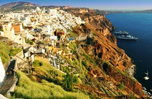 Fira view of Santorini from Ia by GlueR