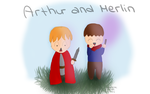 Chibi Arthur and Merlin by aranellenolwe
