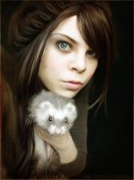 Girl with ferret by Catjuschka
