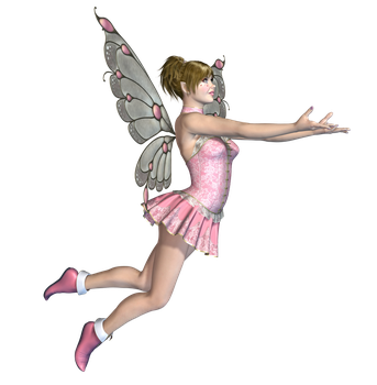 Pink Fairy 03 PNG Stock by Roy3D