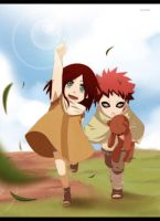 Gaara and Kasumi as kids by annria2002