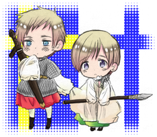 Hetalia Sweden and Finland Chibis by Lugia-sea