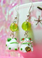 Lucky Green Cat Earrings by xlilbabydragonx