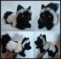 SOLD - Black Snow fox - small floppy by goiku