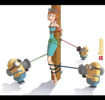 Lucy Wilde (Despicable me 2) and the Minions by Hackman23