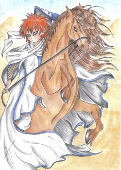 Kazekage and horse coloured by Dragoness-Noush