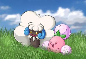 Shiny Whimsicott and Jumpluff by Kisshouten