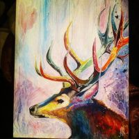 Water Color rainbow stag by Letsliedownwithlions