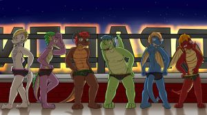 Friends on the roof (Nighttime) by fuzedragons
