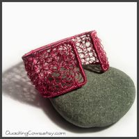 Pink Crochet Wire Bangle by SioniWinwns