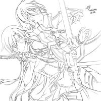 Kirito and Asuna LINEART by makix1994