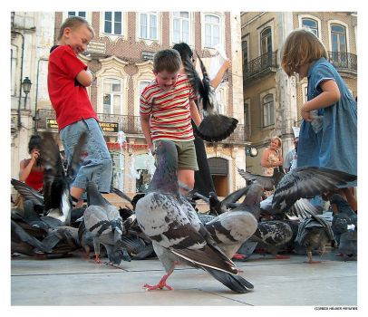 children and pigeons by blueartic