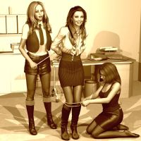 High Jinks in the Office by PoserGirlsInTrouble