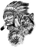 Indian man and wolves by rhymeswithbyke