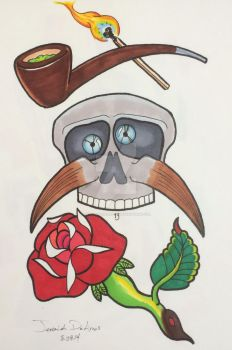 Pipe match skull mustache rose by JeremiahDeArcos