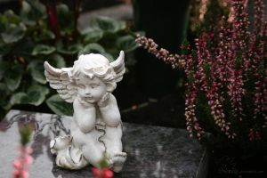 little angel statue on a grave by Nexu4