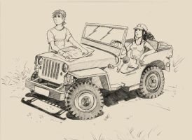Damon,Amy and her jeep by meago