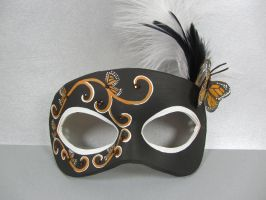 Butterfly leather mask in black and gold by maskedzone