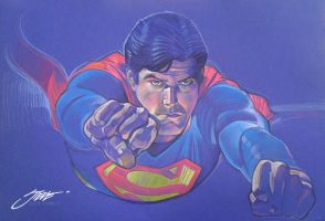 Superman/Reeve Flying by SteveStanleyArt